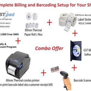 Combo Receipt & Barcode 80mm Printer + Barcode Scanner + GSTpad Billing & Accounting Software + Thermal Receipt and Barcode Rolls + Free SMS