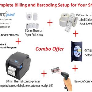 Combo Receipt & Barcode 80mm Printer + Barcode Scanner + GSTpad Billing & Accounting Software + Thermal Receipt and Barcode Rolls + 2000 Free SMS