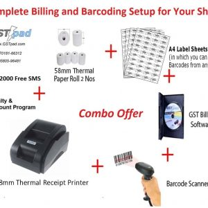 Combo Receipt Printer + Barcode Scanner + GSTpad Billing & Accounting Software + Thermal Rolls + A4 Label Sheets + 2000 Free SMS