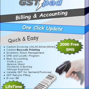 GSTpad Billing/Accounting/barcode Software + 2000 Free SMS