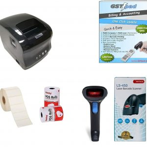 Combo Receipt & Barcode 80mm Printer + Barcode Scanner + GSTpad Billing & Accounting Software + Thermal Receipt and Barcode Rolls